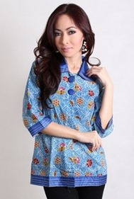 Blouse batik terbaru new warna biru model modern