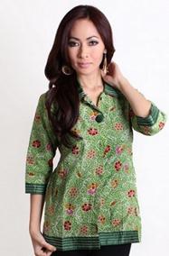 Kemeja blouse batik modern warna hijau terbaru